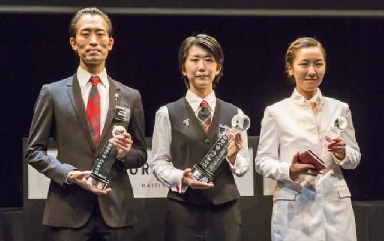 「ワールドクラス2014 ジャパンファイナル」総合入賞者上位3名  左から、3位の槇永優さん、優勝した倉上香里さん、2位の茂内真利子さん