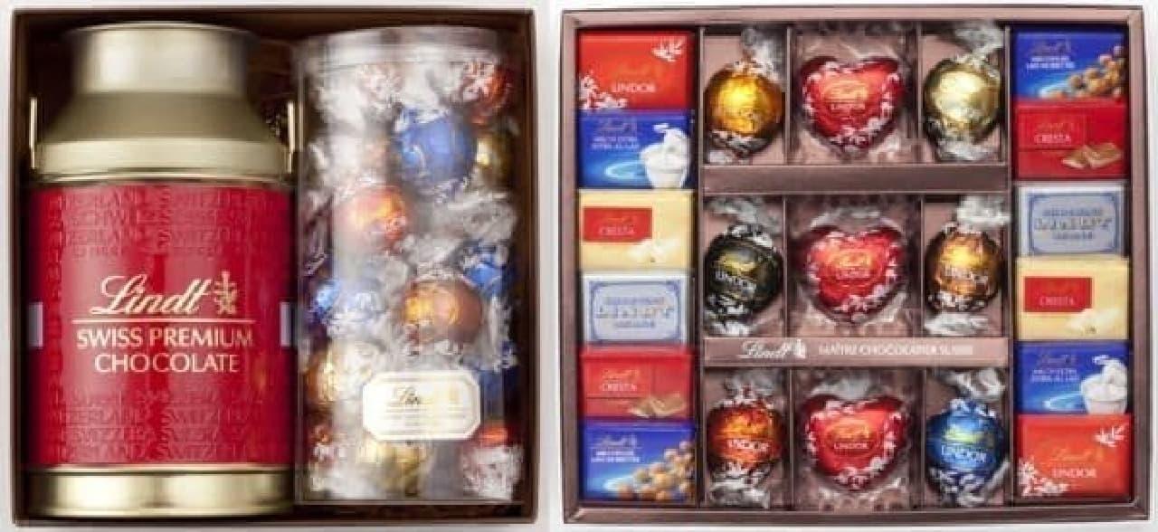 リンツ・リンドールミルク缶 ギフトセット(左)、  リンツチョコレートコレクション(右)