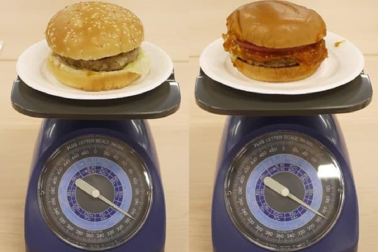 全体の重さを比較。本当に驚いた