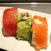 選べる〆の食事、写真はひとくちサイズのロール寿司(彩)