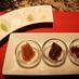3種のジュレと、塩など。肉や野菜につけて(YAGOTO-TEI)