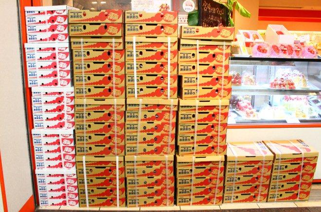 店頭にはものすごい数のイチゴの箱が
